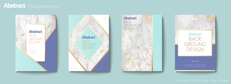 Graceful brochure set, geometric shape with golden line and marble stone texture, aqua blue tone