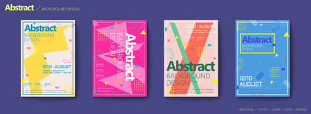 Memphis and hipster style brochure, trendy geometric elements design set