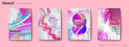 Fluid liquid style brochure, colorful and wavy shape on marble stone background for design Фото со стока - 93623093