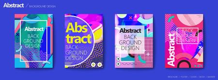 メンフィスとヒップスタースタイルのパンフレット、ジグザグパターンのカラフルな幾何学的要素、トレンディなチラシセット  イラスト・ベクター素材