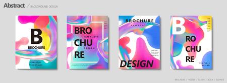 Fluid liquid shape brochure, trendy pastel color in wavy and gradient design