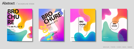 Fluid liquid shape brochure, pastel color in gradient design 일러스트