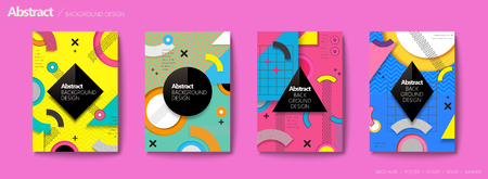 Memphis and hipster style brochure, colorful geometric elements with zigzag pattern, trendy flyer set Illustration