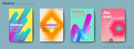 Fluid liquid style brochure, trendy and colorful geometric elements and bokeh effect design set