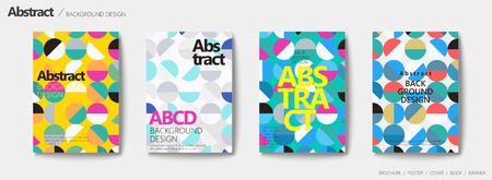 Geometric style brochure set, colorful circle patterns in lovely colors Фото со стока - 93623106