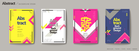 Geometric style brochure set, arrow elements in bright color design