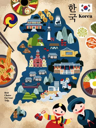 사랑스러운 한국 여행지도, 관광객에게 권장되는 한국의 유명한 랜드 마크 및 맛있는 요리, 한국어로 된 한국 국가 이름 일러스트