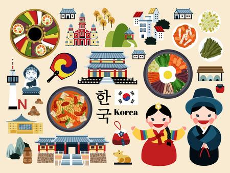 Piękny zestaw koncepcyjny podróży do Korei, kolekcja symboli tradycyjnej kultury koreańskiej, nazwa kraju koreańskiego w koreańskich słowach