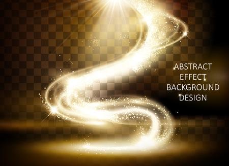 きらめく黄金の光効果、透明な背景に隔離された魔法の波状の輝く光、3Dイラスト