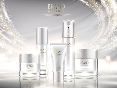 Anúncios de skincare branco pérola, projeto de pacote cosmético definido com efeito de luz brilhante na ilustração 3d Ilustración de vector