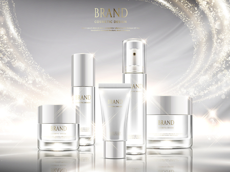 Pearl white skincare ads, cosmetic package design set with glittering light effect in 3d illustration