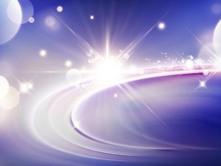 Purpere lichteffectachtergrond, schitterende en fonkelende elementen in 3d illustratie