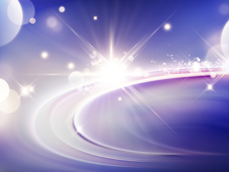 Purple light effect background, glittering and sparkling elements in 3d illustration