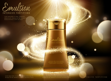 Golden cosmetic tube ads, bronze tube with glittering light and bokeh background in 3d illustration