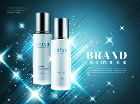 Cosmetic product ads, white bottle with silver cap isolated on shiny blue background in 3d illustration
