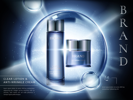 Lontion and cream ads, cosmetic containers set with burst light and giant bubbles in 3d illustration