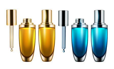 ドロップレットボトルモックアップ、3Dイラストで白い背景に分離された空白の化粧品容器テンプレート