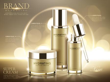 Nawilżające reklamy produktów kosmetycznych, pojemniki z szampanem złota na białym tle na błyszczącym tle bokeh w ilustracji 3d