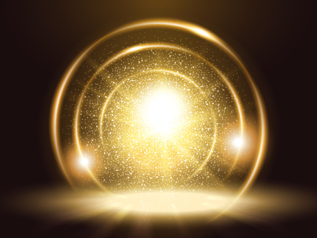 Sparkling particles and rings, attractive golden color glitter element for design uses Stock Illustratie