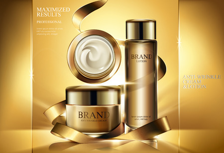 Anti-wrinkle product ads, cosmetic cream jar and lotion mockup with golden ribbons and glowing background in 3d illustration