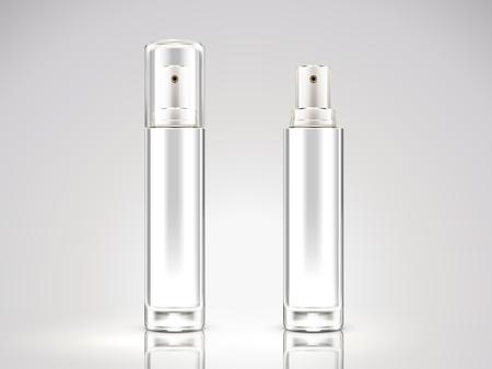 パールホワイトスプレーボトルモックアップ、3Dイラストでブランク化粧品ボトルセット