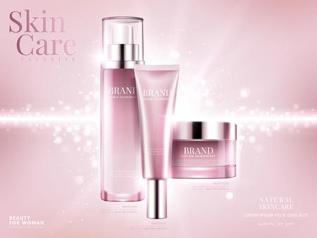 Anúncios de conjunto de cosméticos, design de pacote rosa claro no fundo rosa com elementos de bokeh brilhante na ilustração 3d