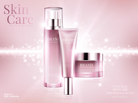Zestaw reklam kosmetycznych, jasnoróżowy projekt opakowania na różowym tle z błyszczącymi elementami bokeh w ilustracji 3d