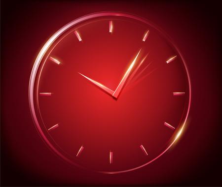 ライトクロック要素、3Dイラストレーションで分離された光で構成された短い手と長い手を持つ時計
