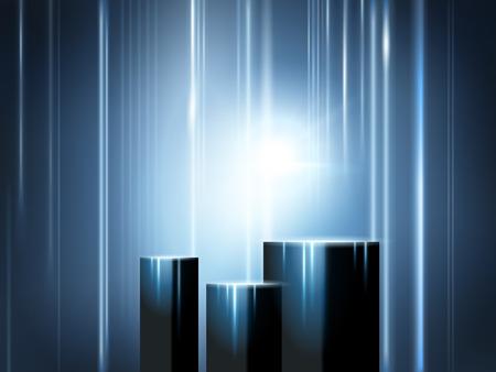 光輝く展示ステージ、光線と光の効果を持つ製品のための立方体
