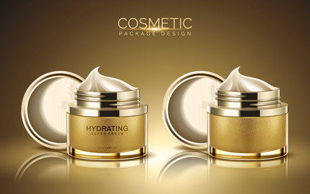 Cosmetic package design, golden color cream jar with cream texture in 3d illustration Zdjęcie Seryjne - 94128918