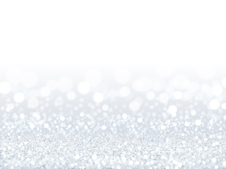Fond de paillettes blanches attrayantes, particules argentées et blanches composées de papier peint bokeh en illustration 3d