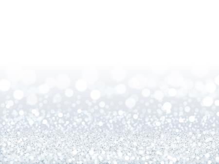 Fundo atraente lantejoulas brancas, partículas de prata e brancas compostas por papel de parede bokeh em ilustração 3d