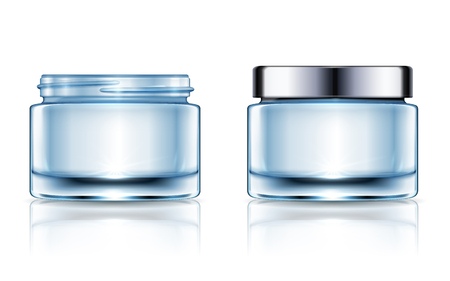 Blank cream jars set, blue cosmetic containers mockup template isolated on white background in 3d illustration