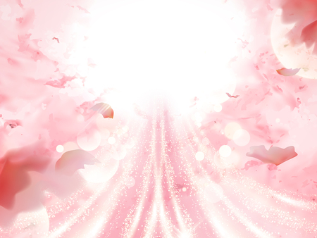 Romantic pink background, flying petals with glittering lights for design uses