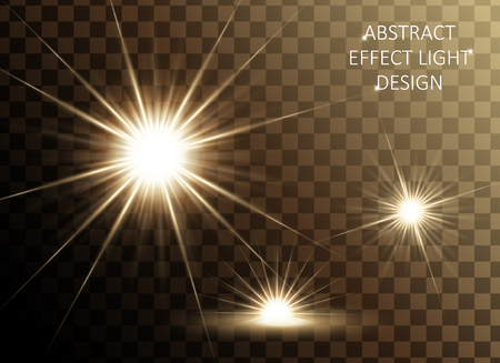 Glittering golden star set, sparkling decorative elements isolated on transparent background, 3d illustration 向量圖像