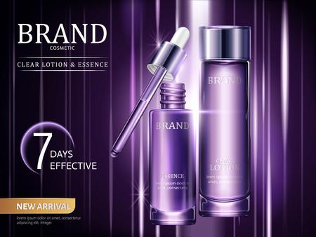 ローションとエッセンス広告、3Dイラストで光線で紫色に設定された化粧品容器