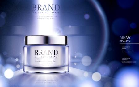 Anúncios de creme de clareamento, anúncios de produtos cosméticos com partículas e luz forte no recipiente na ilustração 3d