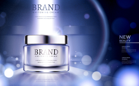 Whitening cream ads, cosmetic product ads with particles and strong light on the container in 3d illustration Vettoriali