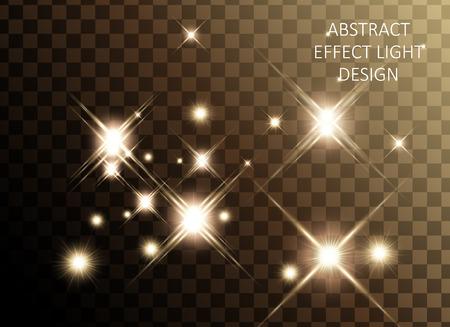 Glittering golden star set, sparkling decorative elements isolated on transparent background, 3d illustration Illustration