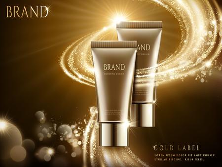 Elegante kosmetische advertenties, bruin buispakket met fonkelend lichteffect in 3d illustratie