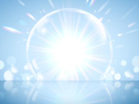 Błyszczący gigantyczny efekt bańki, przezroczysta bańka ze świecącymi światłami na niebieskim tle w ilustracji 3d