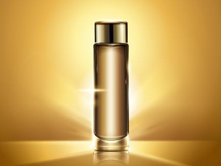 Het gouden model van de tonerfles, leeg kosmetisch containermalplaatje voor ontwerpgebruik, glanzende achtergrond in 3d illustratie