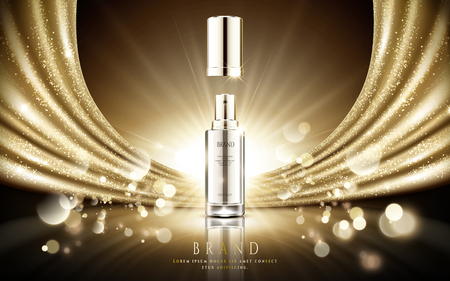 Golden cosmetic ads, elegant silver spray bottle with sparkling gold satin and particle bokeh background in 3d illustration Vettoriali