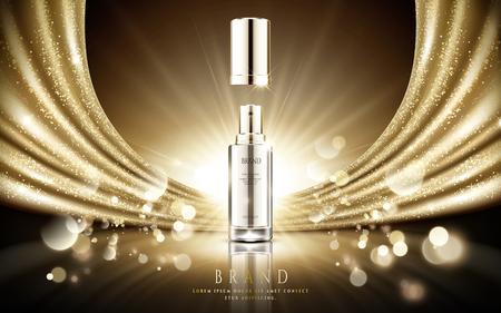 Annunci cosmetici dorati, bottiglia d'argento elegante dello spruzzo con il raso scintillante dell'oro e fondo del bokeh della particella nell'illustrazione 3d Archivio Fotografico - 94128492