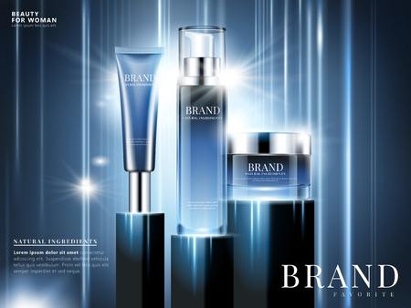 Kosmetische Anzeigen des natürlichen Bestandteils, blaue Verpackungsgestaltung auf blauem Hintergrund mit dem Glühen und Lichteffekt des Strahls in der Illustration 3d