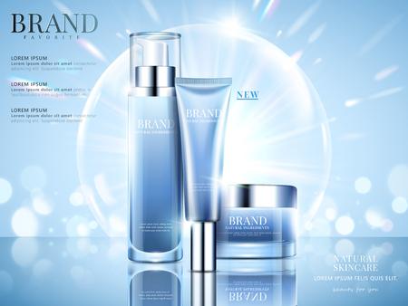 Cosméticos definir anúncios, design de pacote de céu azul sobre fundo azul claro com bokeh brilhante e bolhas na ilustração 3d