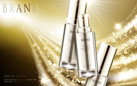 Gouden kosmetische advertenties, elegante zilveren nevelfles met fonkelend lichteffect in 3d illustratie