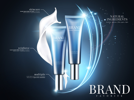 化粧品チューブクリーム広告、3Dイラストで輝きと光光効果を持つ青い背景に青いパッケージデザイン