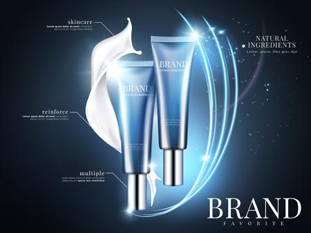 화장품 튜브 크림 광고, 3d 그림에서 빛나는와 레이 조명 효과와 파란색 배경에 파란색 패키지 디자인