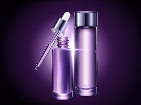 Purple blank container set, cosmetic mockup for design uses in 3d illustration, droplet and toner bottle